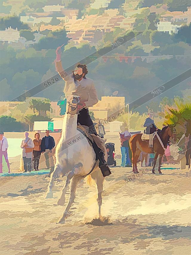 Edicion creativa estilo acuarela de un jinete a caballo