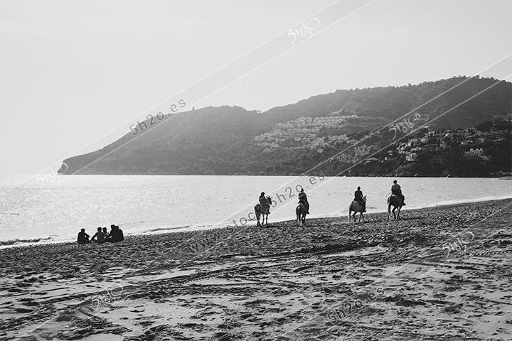 Foto de stock - Photo Stock - Jinetes por la playa