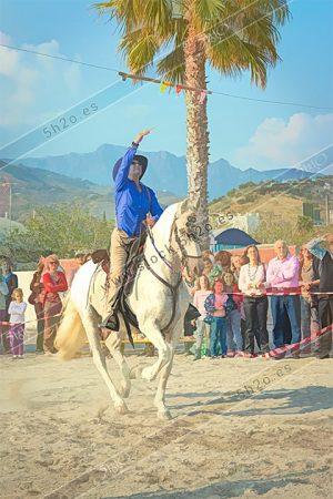 Amazona en lance en las carreras de cintas a caballo