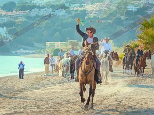 Carreras de cintas a caballo - jinetes al galope