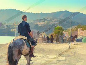 Foto de stock - Photo Stock - Jinete de espaldas en las carreras de cintas a caballo