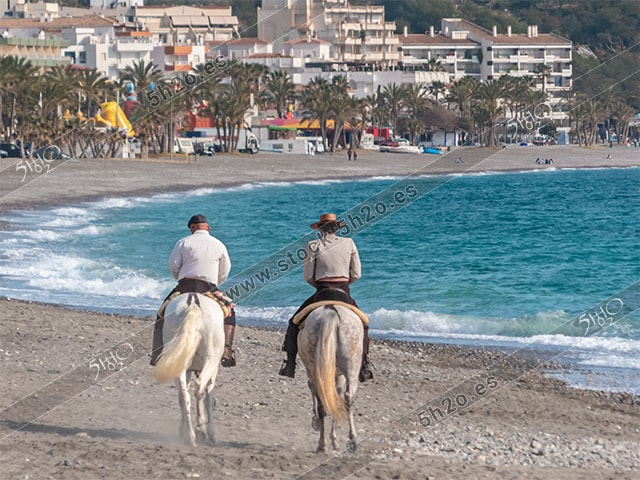 Foto de stock - Photo Stock by 5h2o - Jinetes a caballo por la playa