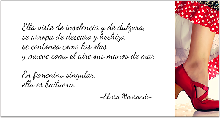 tarjeta diseño de 5h2o con un poema de Elvira Maurandi